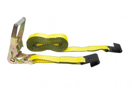 "2"" x 40' Ratchet Strap with Flat Hook - Yellow"