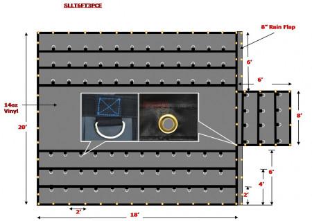 Super Light 14 Oz Lumber Tarp 20x18 (6' Drop with 6' x 8' Flap) - Black