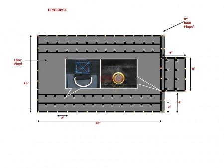 Heavy Duty 18 Oz Steel Tarp 16x18 (4' Drop with 4' x 8' Flap) - Black