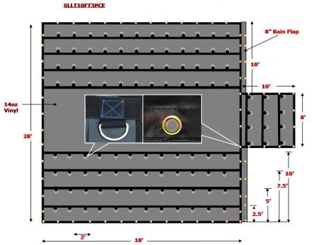 Super Light 14 Oz Lumber Tarp 28x18 (10' Drop with 10' x 8' Flap) - Black