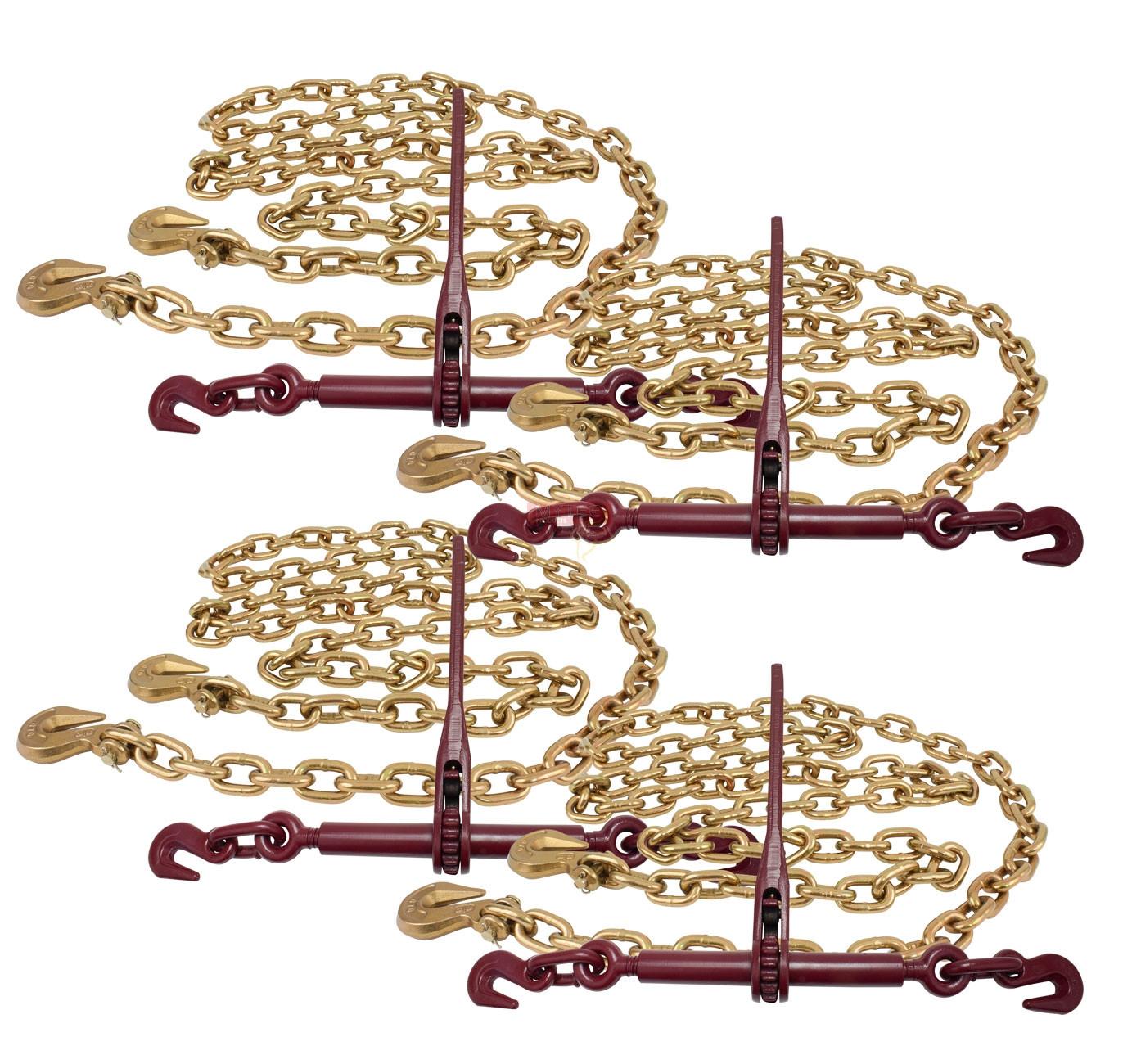 3/8 12' G70 Chain (4) And Ratchet Binder Boomer (4